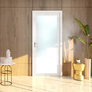 New white waterproof glass bathroom entry doors with frosted glass