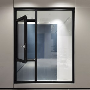 Living room aluminium floor to ceiling french grey glass fixed casement window